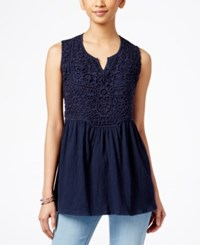 Styleandco. Style And Co. Empire Waist Split Neck Top Only At Macy's Industrial Blue