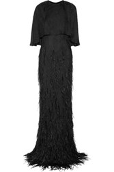 Jason Wu Sequin And Feather Embellished Georgette Gown Black