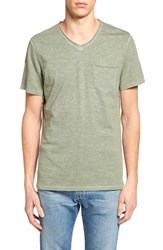 Treasure And Bond Men's Trim Fit Slub V Neck Pocket T Shirt Green Dune