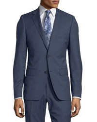 Dkny Slim Fit Two Button Check Print Wool Suit Blue