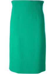 Celine Vintage Classic Pencil Skirt Green