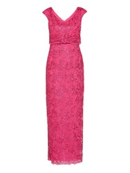 Gina Bacconi Embroidered Corded Mesh Maxi Dress Pink