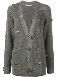 Christopher Kane Gemstone Buttoned Cardigan Metallic