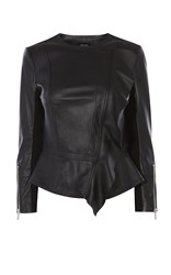Karen Millen Drape Front Leather Jacket Black