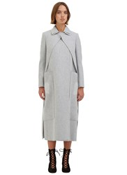 Maison Rabih Kayrouz Long Asymmetric Layered Coat Grey