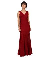 Adrianna Papell Sleeveless V Neck Lace Trumpet Gown Crimson Women's Dress Red