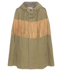 Saint Laurent Suede Fringed Cotton And Linen Cape Green
