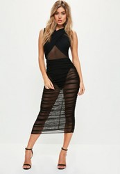 Missguided Black Sleeveless Mesh Wrap Ruched Maxi Dress