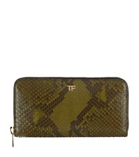 Tom Ford Python Zip Around Wallet Green