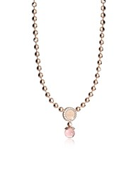 Rebecca Boulevard Stone Rose Gold Over Bronze Necklace W Hydrothermal Pink Stones