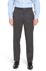 John W. Nordstrom Big And Tall Torino Traditional Fit Flat Front Solid Trousers Mid Grey