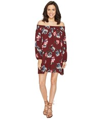Brigitte Bailey Amila Off The Shoulder Floral Dress Burgundy Women's Dress