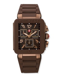 Michele Park Jelly Bean Watch W Brown Silicone Strap