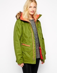 The North Face Mountain Coat With Faux Fur Trimmed Hood Green