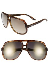 Women's Gucci Vintage Inspired Stripe 63Mm Aviator Sunglasses Havana Grey Flash Gold