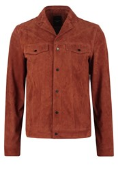 New Look Leather Jacket Rust Orange