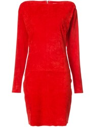 Jitrois Slash Neck Fitted Dress Women Suede 42 Red