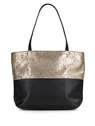 Saks Fifth Avenue Colorblock Faux Leather Tote Black Gold