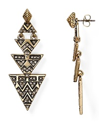 House Of Harlow 1960 Pave Tribal Triangle Earrings Gold