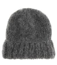 Ganni Julliard Mohair And Wool Hat Grey