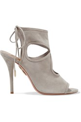 Aquazzura Sexy Thing Cutout Suede Sandals Light Gray