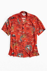 Urban Outfitters Uo Red Dragon Short Sleeve Button Down Shirt