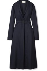 The Row Tula Belted Wool Midi Dress Storm Blue