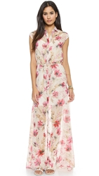 Haute Hippie Cap Sleeve Chiffon Maxi Dress