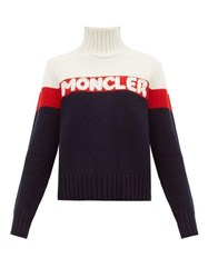 Moncler Logo Jacquard Striped Wool Blend Sweater Cream Multi