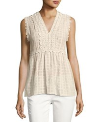 Max Studio Crochet Trim Dobby Sleeveless Blouse Off White