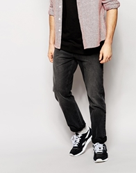 Asos Straight Jeans In Washed Black Grey