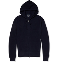 Polo Ralph Lauren Waffle Knit Cashmere Hooded Sweater Blue