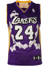 Night Market Lakers Embroidered Nba Tank Women Polyester One Size Pink Purple