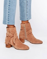 Asos Renzel Suede Bow Ankle Boots Biscuit Suede Beige