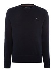 Fred Perry Loopback Crew Neck Sweat Navy