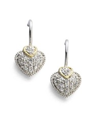 Judith Ripka Fontaine White Sapphire 18K Yellow Gold And Sterling Silver Heart Drop Earrings No Color