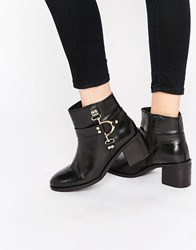 Ravel D Ring Leather Ankle Boots Black