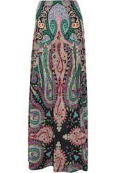 Etro Printed Silk Crepe De Chine Maxi Skirt Green