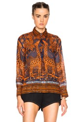 Valentino Giraffe Print Blouse In Orange Blue Abstract