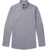 72545368 Tom Ford Slim Fit Button Down Collar Striped Cotton Shirt Blue