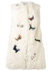 Valentino Butterfly Embroidered Gilet Women Silk Cotton Polyester Lamb Fur 42 Nude Neutrals