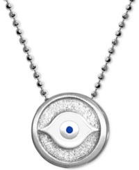 Alex Woo Textured And Enamel Evil Eye 16 Pendant Necklace In Sterling Silver