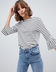 Maison Scotch Stripe Top With Ruffle Sleeves 18 Combo B Navy