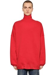 Balenciaga Oversize Cotton Turtleneck Sweater Red