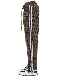 Burberry Tb All Over Monogram Cotton Sweatpants Bridle Brown