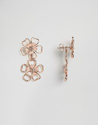 Ted Baker Double Enamel Flower Drop Earring Pink Rose Gold