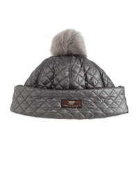 Ugg Quilted Fabric Hat W Shearling Fur Pompom