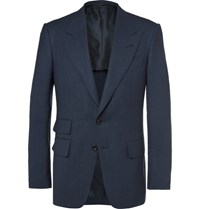 Tom Ford Blue Shelton Wool And Silk Blend Blazer Navy