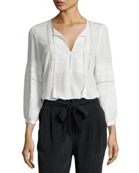 Joie Mei Embroidered Silk Peasant Top White