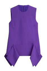 Victoria Beckham Wool Sleeveless Draped Top Purple